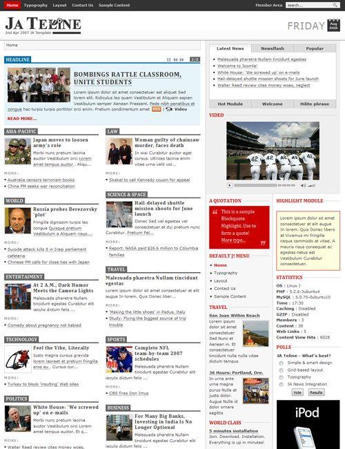 Ja Teline Grid Based Joomla News Portal Roach
