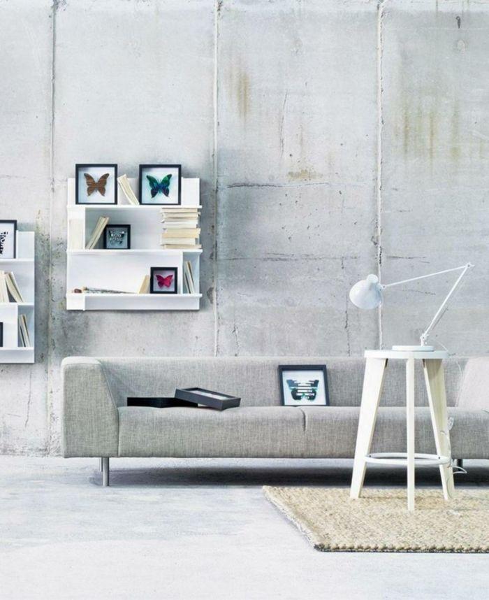 wohnzimmer einrichten beispiele industrieller stil wandgestaltung