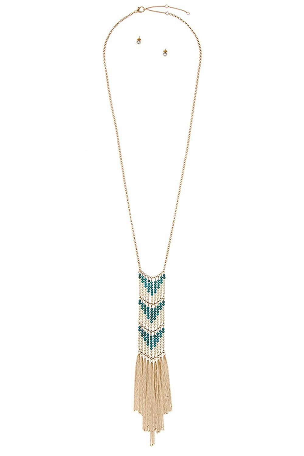 Karmas canvas chevron pearl bead pattern chain fringe long necklace