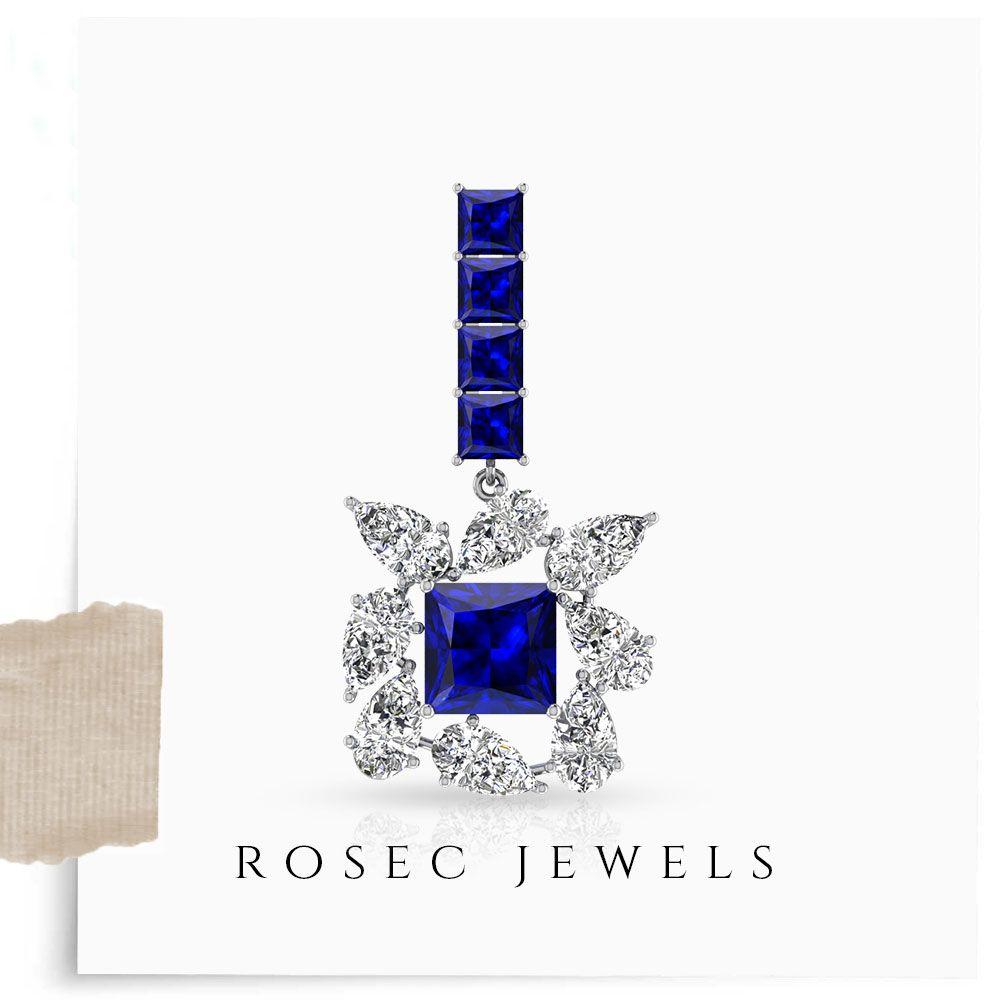 Septmeber Birthstone Halo Diamond Stud Earrings Women Jewelry Elegant Earrings Blue Sapphire Earrings 14K Yellow Gold 1.09CT Dainty