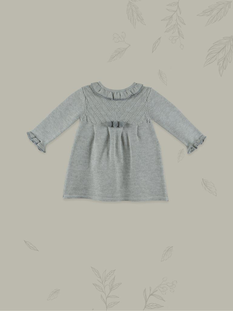 c6cdcd400a74 Chic Grey Baby Girl Knit Dress