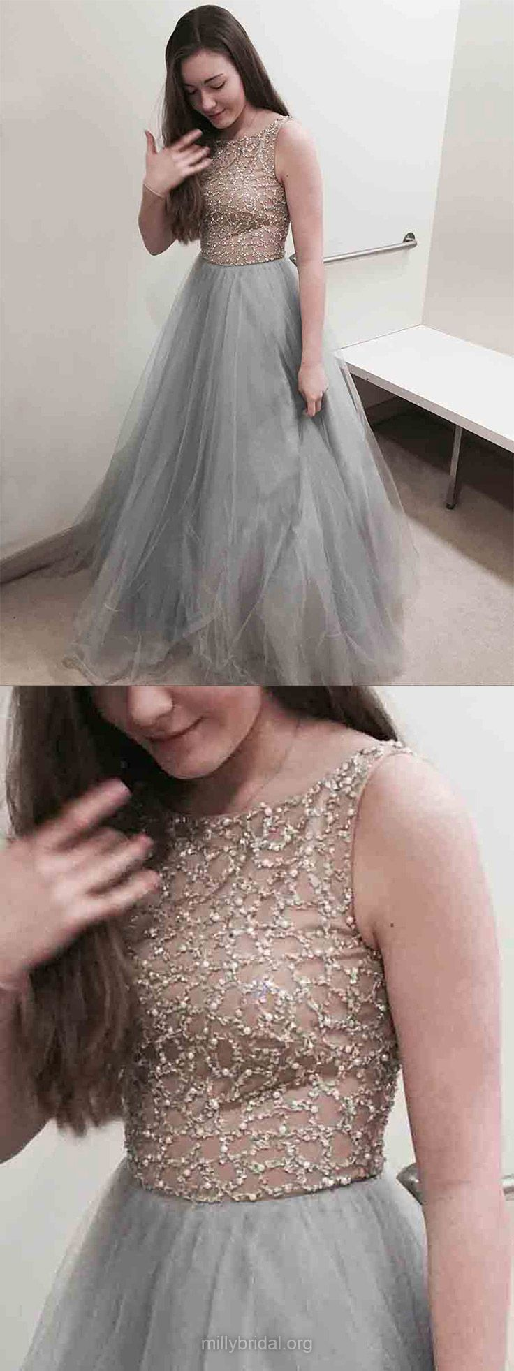 Grey prom dresses long silver prom dresses for teens princess