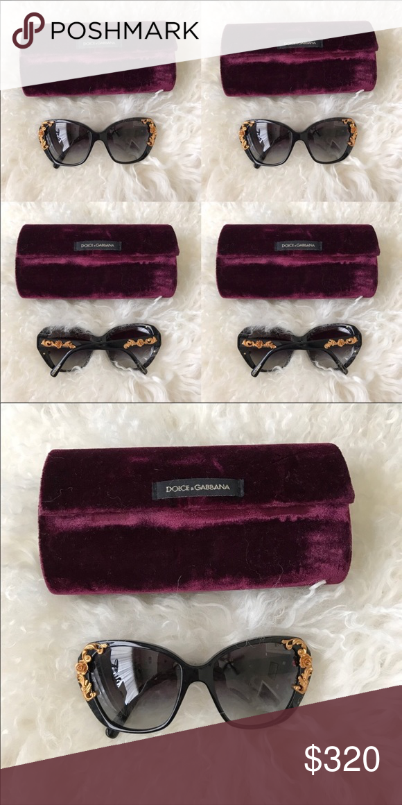 767a0481278 Dolce and Gabbana sunglasses black gold roses 🌹 Black Dolce and Gabbana  sunglasses with gold filigree roses as pictured Case is included Large black  frames ...