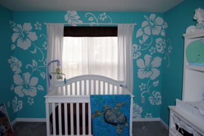 blue and white hawaiian nursery decor we used our love for tropical