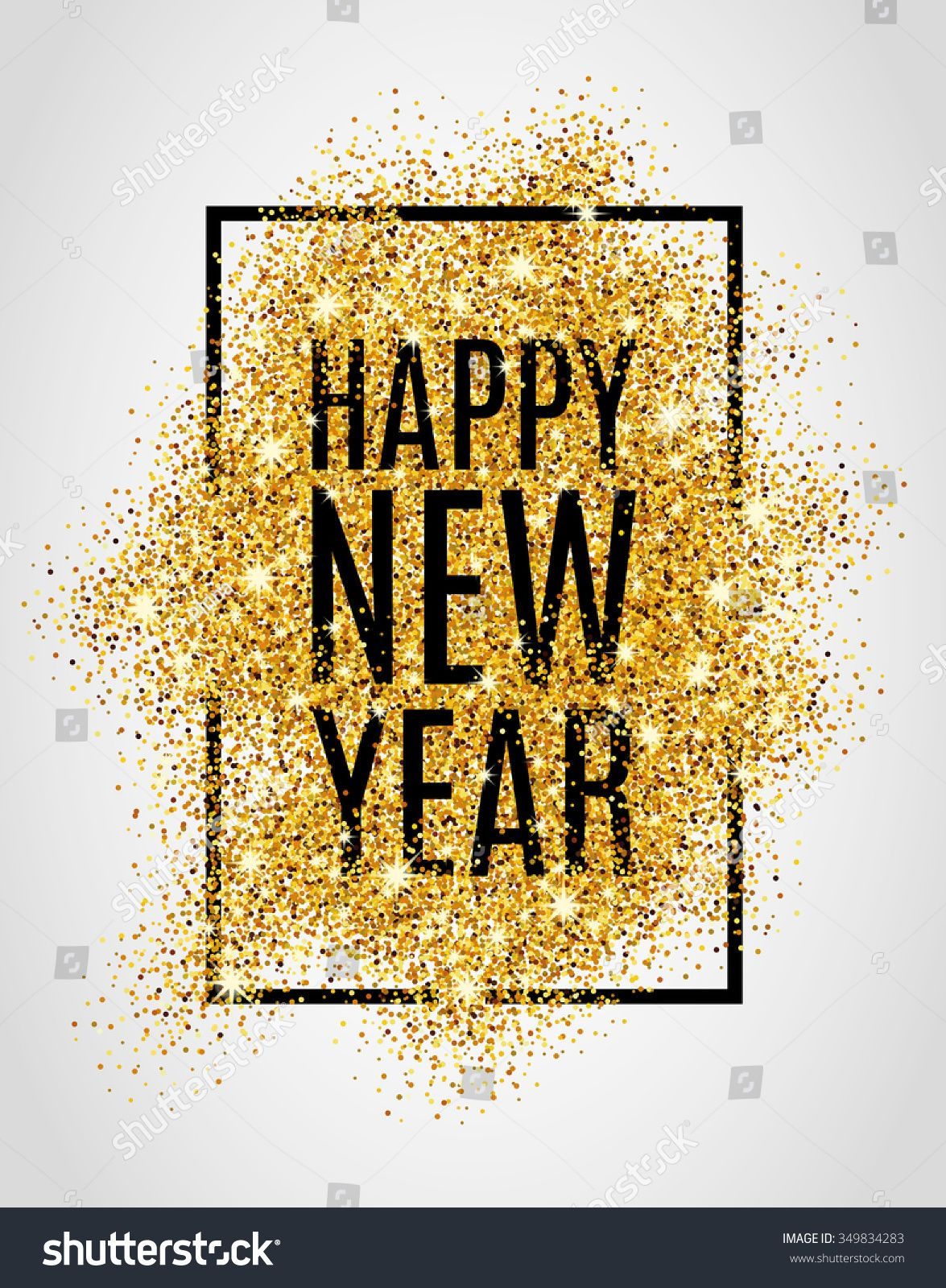 Happy new year. Gold glitter 2017. Golden background for
