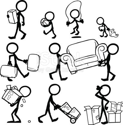Stickfigures Moving Furniture Moving Boxes Suitcases Moving House