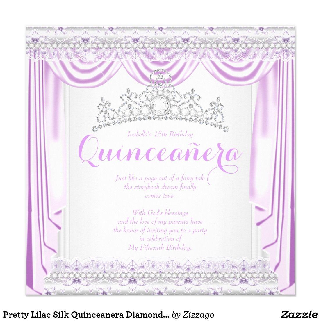 Pretty Lilac Silk Quinceanera Diamond Tiara White 5.25x5.25 Square ...