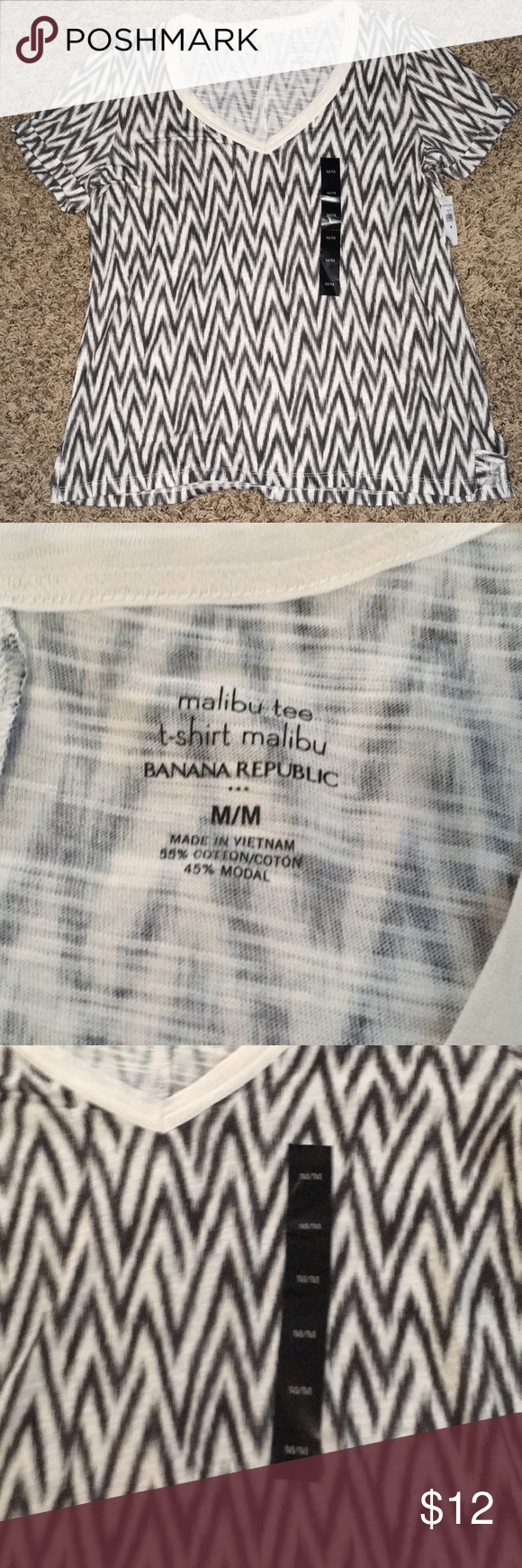 76a9e25d Banana Republic Malibu Tee chevron striped shirt Banana Republic chevron striped  shirt size M Banana Republic Tops Tees - Short Sleeve