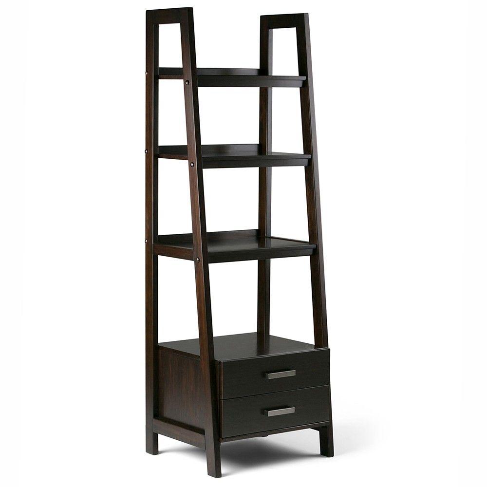 Sawhorse shelf ladder shelf with storage dark chestnut brown