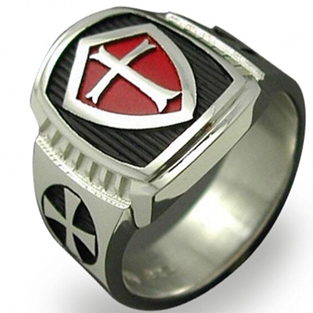 Tamaño 7-15 de acero inoxidable titanium rojo escudo armadura caballero templario anillo medieval crusader cross signet vintage retro