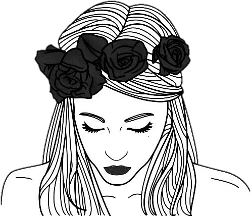 Tumblr Tumblrgirl Outlines Chicas Girls Girl Outline Flower Crown Png Download Transparent Png Image Outline Art Hipster Drawings Girl Outlines