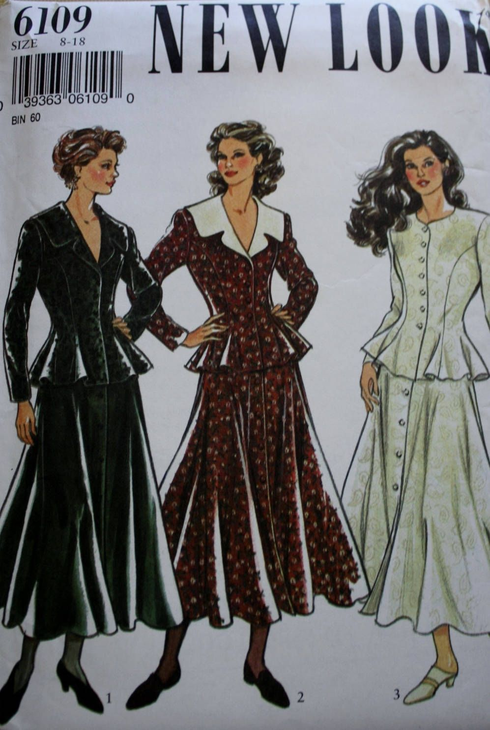 New Look 6109 /Fitted Flared Jacket Sewing Pattern /Flared Full Skirt / UNCUT by BluetreeSewingStudio on Etsy