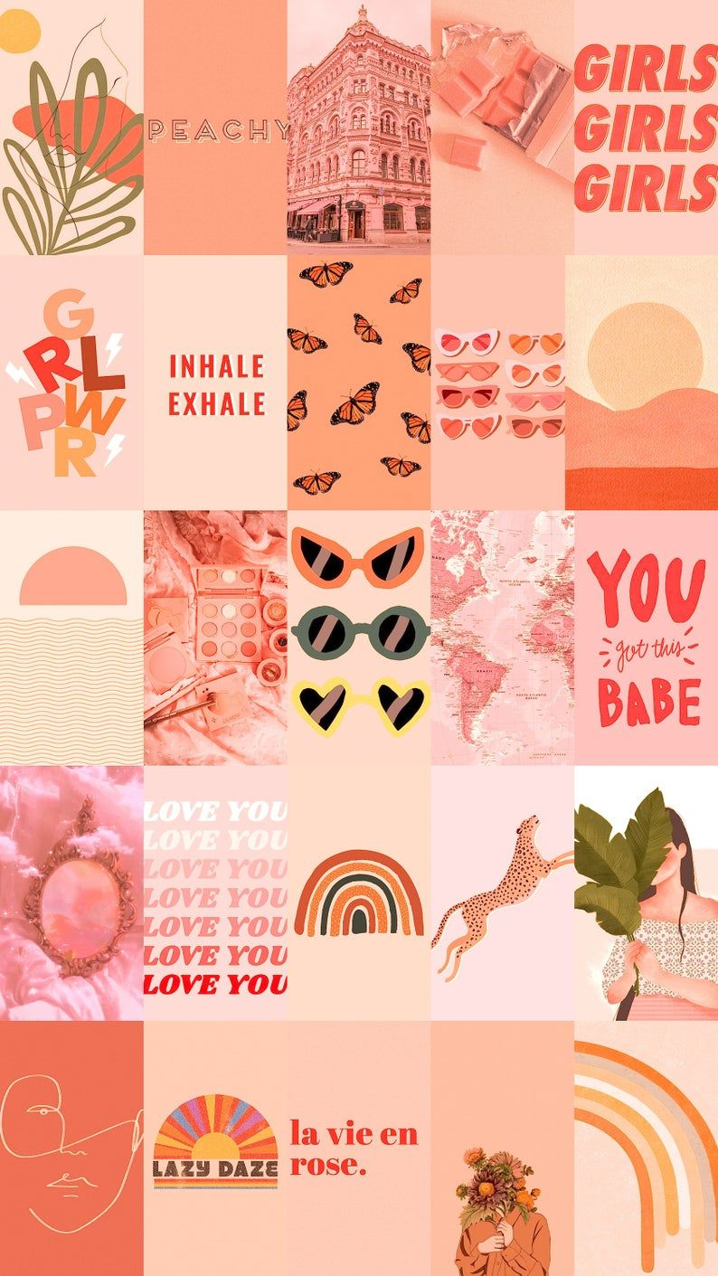 Peach Pink Wall Collage Kit, Pink Photos, Peach Wall Collage, Peach Collage, Aesthetic Collage Kit (DIGITAL DOWNLOAD) 200Pcs Digital