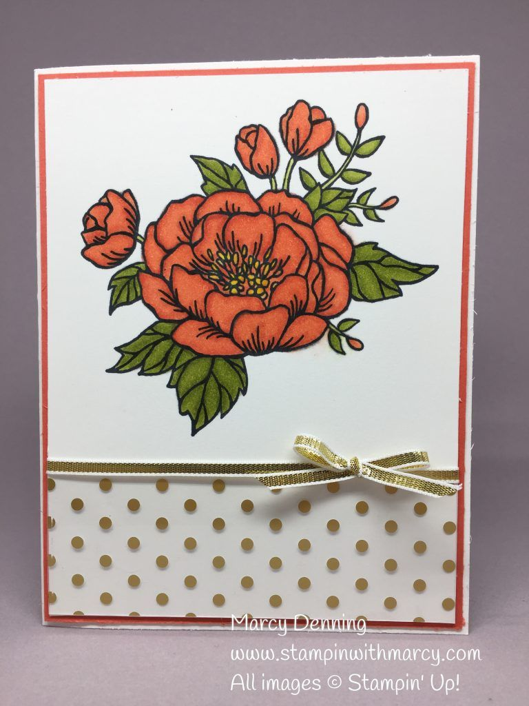Birthday Blooms Stamp Set, Calypso Coral, Old Olive & Daffodil Delight Stampin' Blends Combo Marker Pack, Stampin' Up! www.stampinwithmarcy.com
