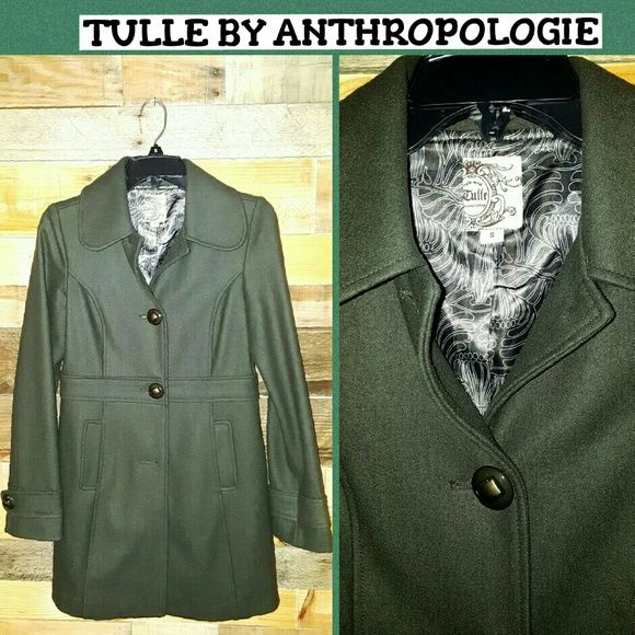 TULLE BY ANTHROPOLOGIE PEA COAT BEAUTIFUL WARM AND HIGH QUALITY MATERIAL!! TULLE BY ANTHROPOLOGIE SIZE SMALL ARMY GREEN PEA COAT BOUGHT AT NORDSTROMS NEW CONDITION 60% WOOL 40% VISCOSE LINING INSIDE 100% POLYESTER *NO TRADES PLEASE** Tulle Jackets & Coats Pea Coats