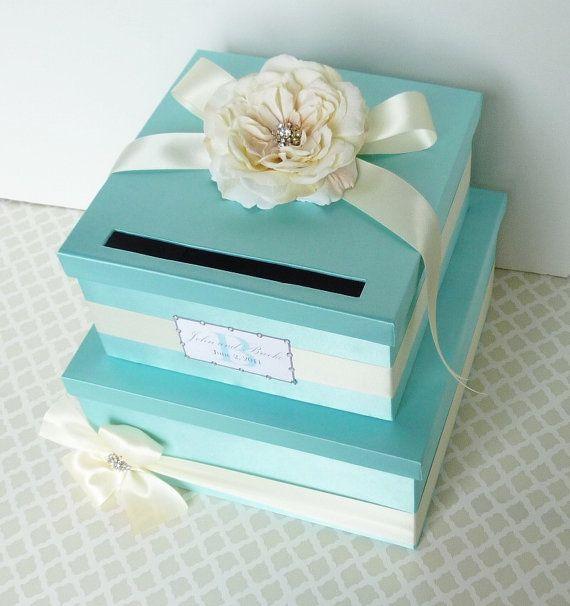 wedding card box tiffany aqua blue ivory money