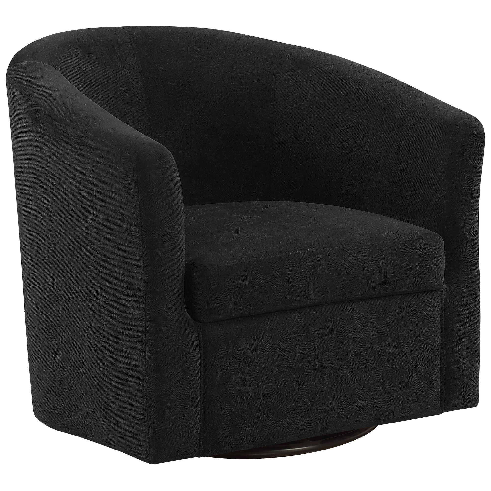 Accent chair swivel black abstract velvetfoam