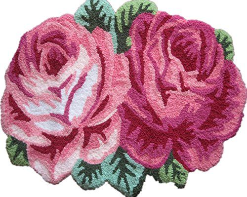 Bathroom Rugs Ideas | Hughapy Modern Fashion Handmade Rug Antislip Carpet for Living Room Bedroom Pink Rose Rugs >>> Click image to review more details.(It is Amazon affiliate link) #likes4followers