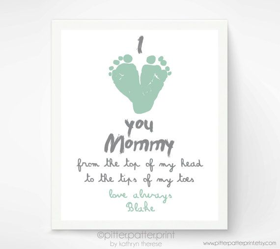 Personalized mothers day gift for new mom i love you mommy baby footprint art mint gift for grandmother gift for new grandma on etsy
