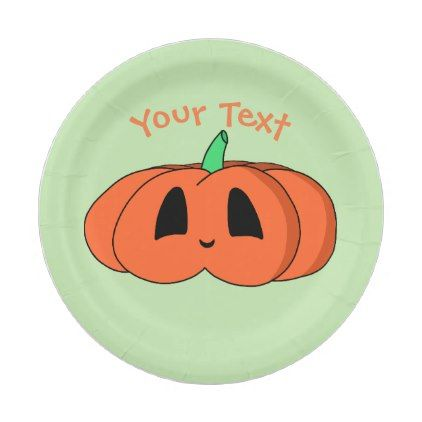 Squat Kawaii Pumpkin Cute Halloween Jack O\u0027Lantern Paper Plate - halloween decor diy cyo  sc 1 st  Pinterest & Squat Kawaii Pumpkin Cute Halloween Jack O\u0027Lantern Paper Plate ...