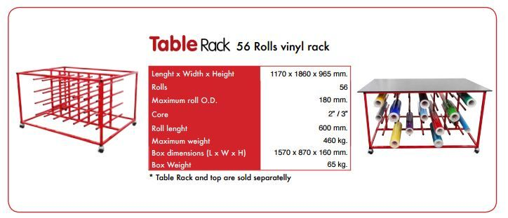 Specs For Vinyl Rack Table Top