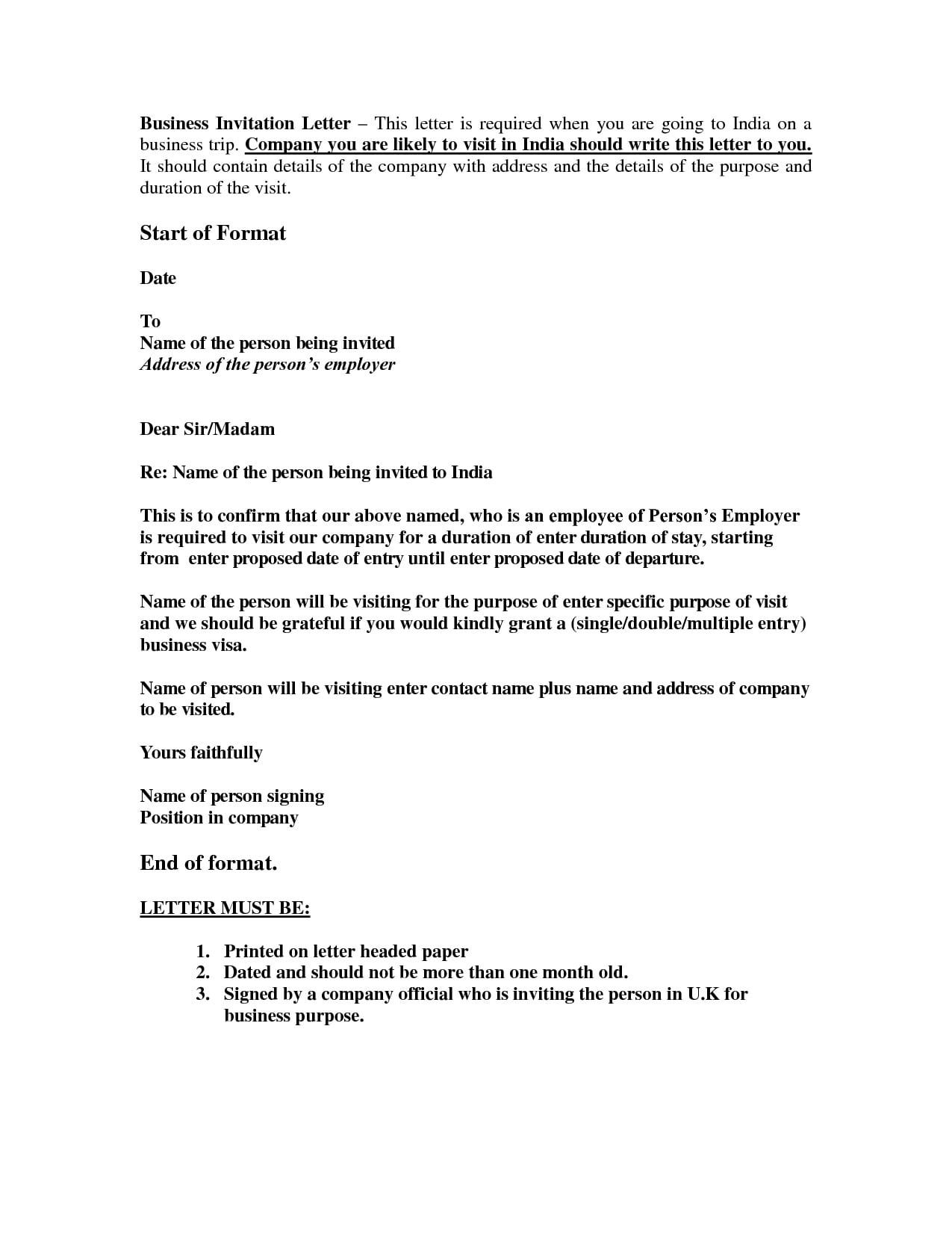 Sample Of Invitations Letter For Business Visa Business