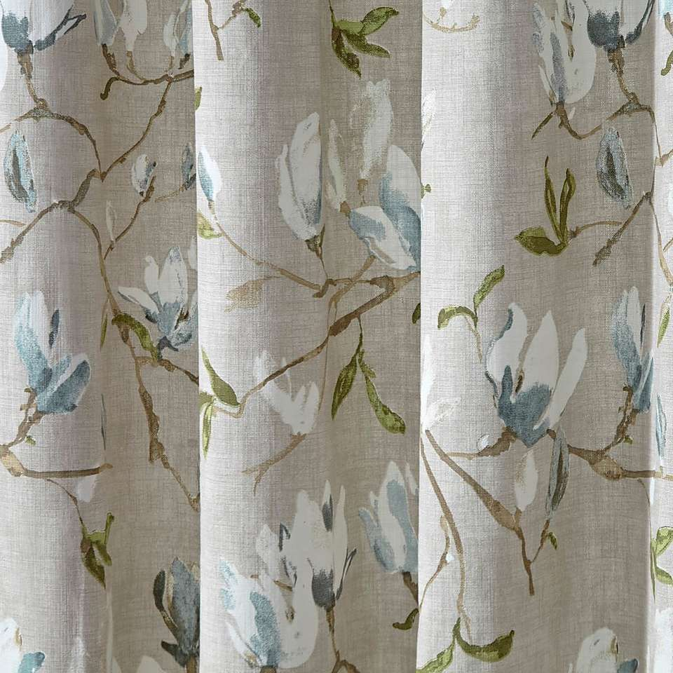 Magnolia Green Pencil Pleat Curtains Floral Bedroom Blue And Green Curtains Pattern Curtains Living Room
