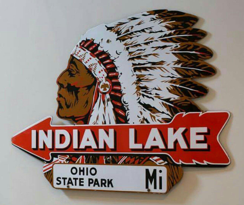 Original Porcelain Indian Lake Arrow Sign Indian lake