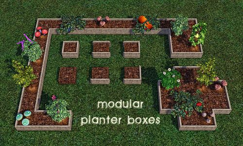 Modular Planter Boxes By Moveobjects On Spring4sims Sims Planter Boxes Sims 4 Garden