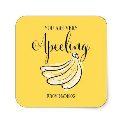 Funny Fruit Pun Apeeling Banana Valentine Sticker
