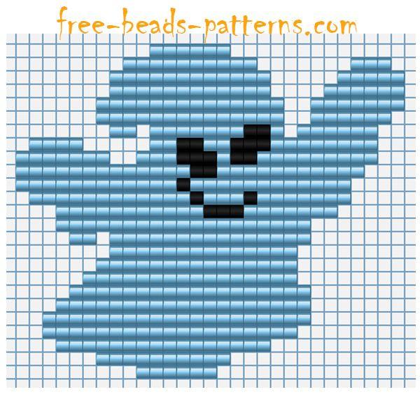 Halloween ghost free Hama Beads Pyssla pixel art pattern for ...