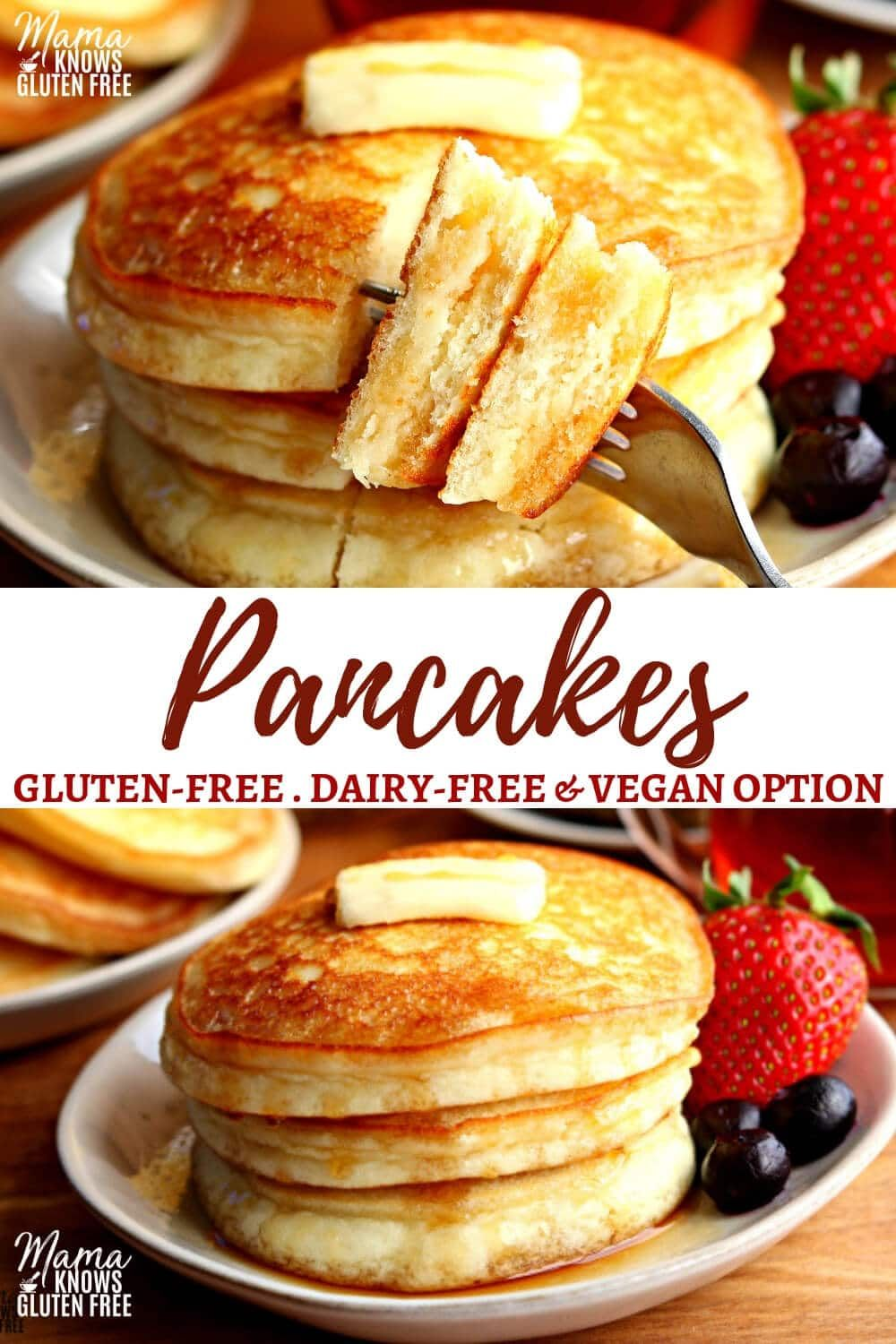 An easy gluten-free pancake recipe with a dairy-free and Vegan option. A gluten-free pancake mix made with a few simple ingredients that make fluffy pancakes every time! #glutenfreerecipe #pancakes #glutenfree