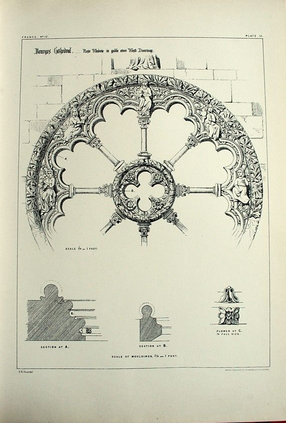 1872 Large Antique Plate Of Gothic Architectural Details The Rose Window In West Doorway Bourges Cathedral France No 12