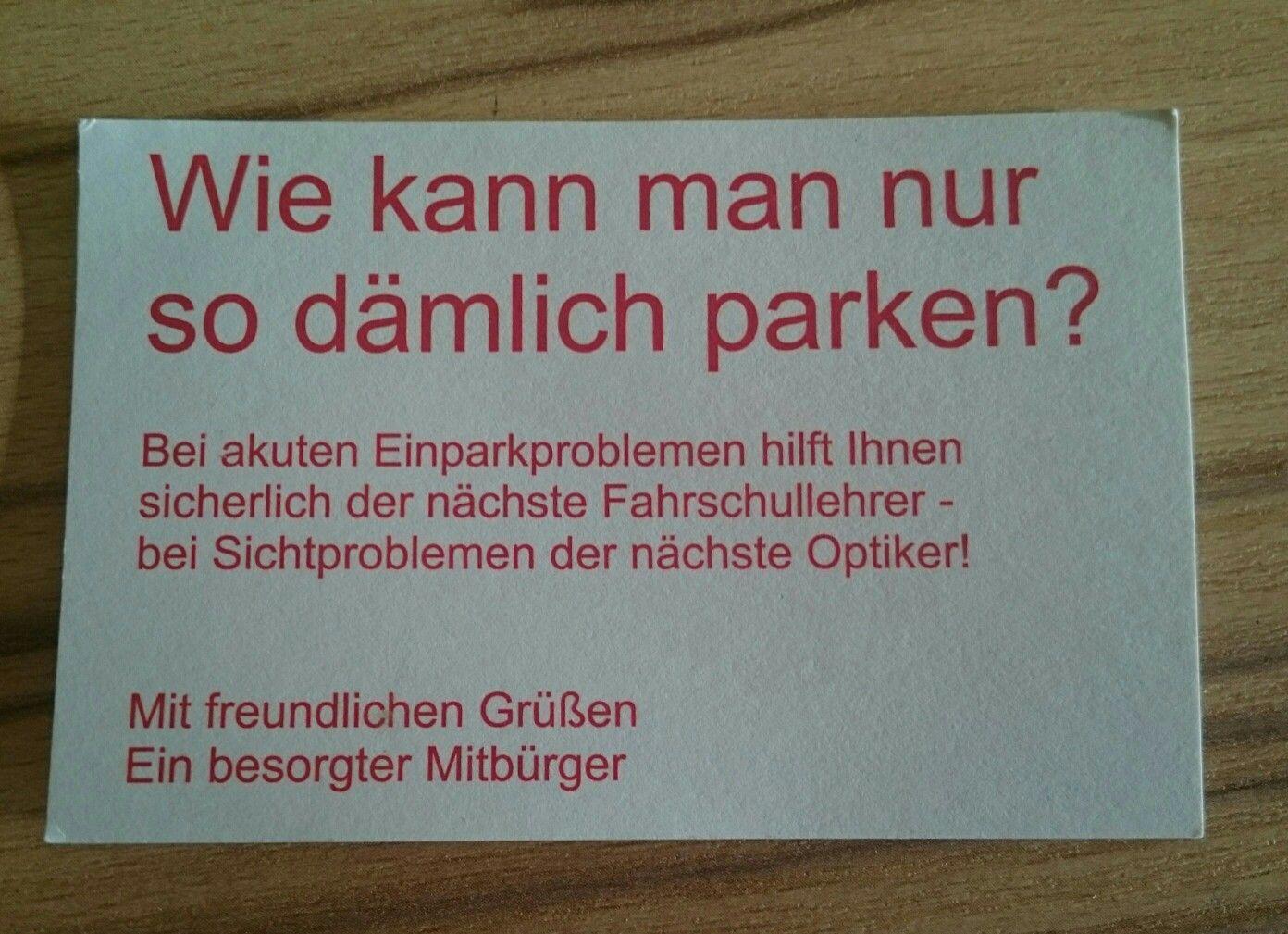 Visitenkarte Für Falschparker Lustiges Lustige Sprüche