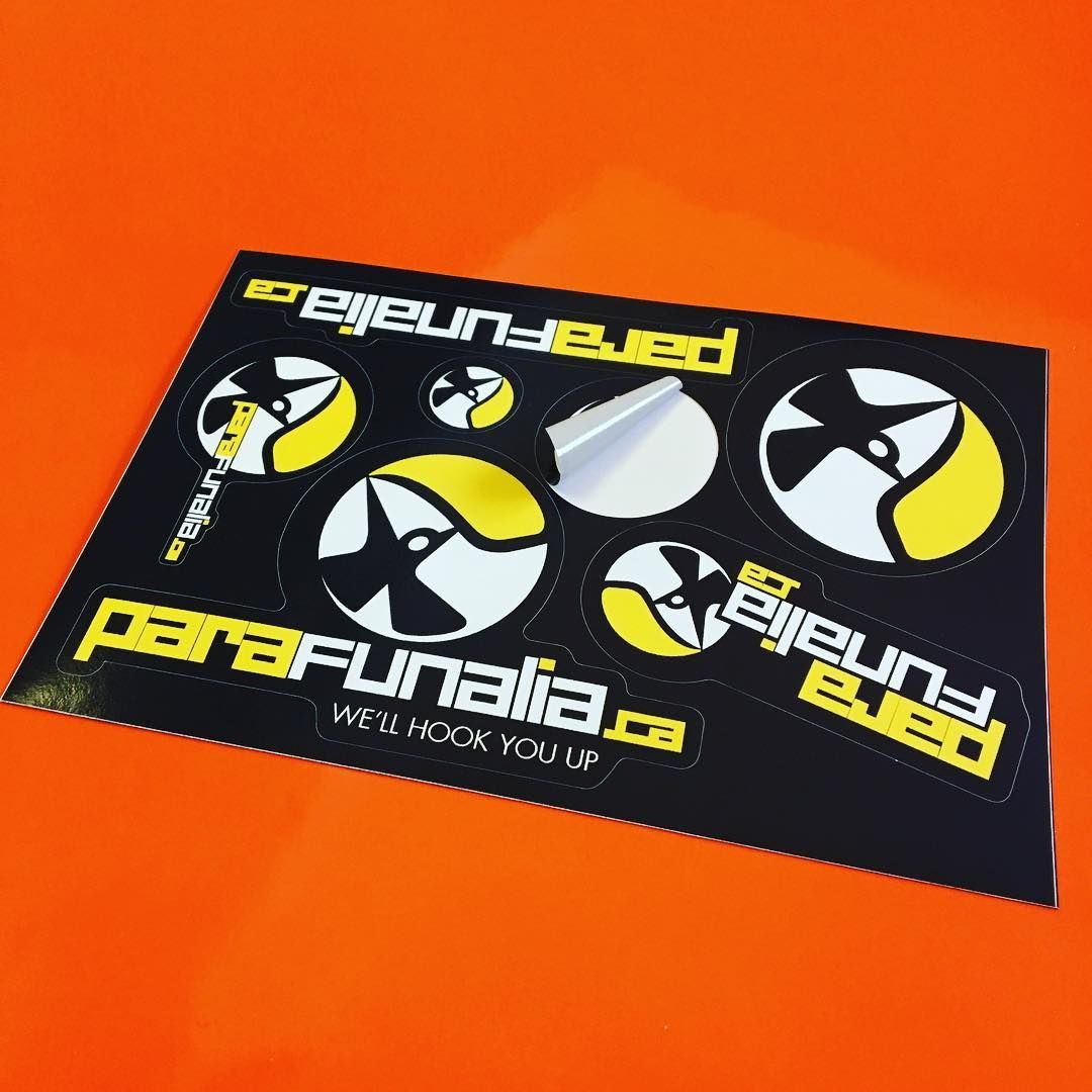 Custom kiss cut stickers on sheets for parafunalia skydive rigging theskyisthelimit