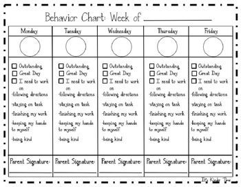 Free Editable Behavior Chart Weekly More