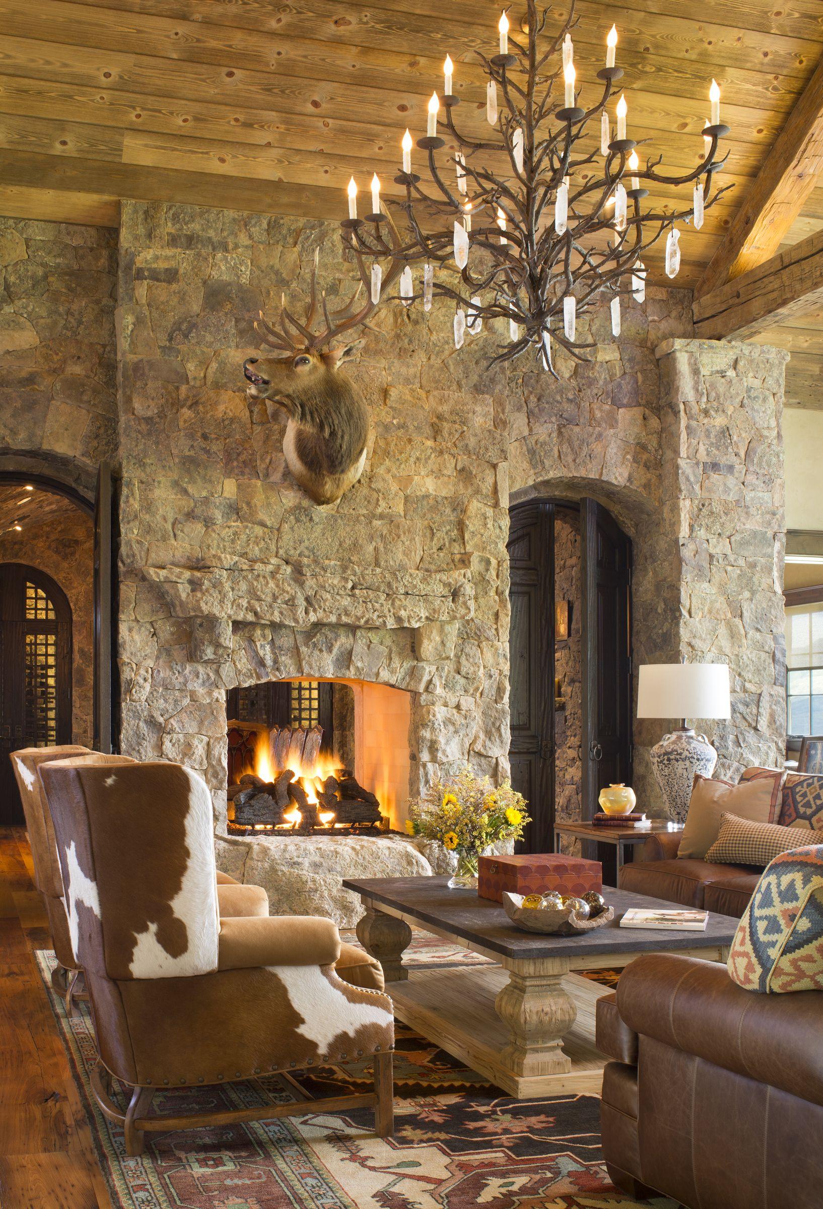 Rustic Colorado Ranch Home living room designed by Design ...