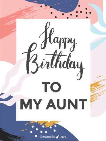 Card for Auntie Card for Aunty Lovely auntie card Watercolor Greeting card Instant download Floral Birthday Card Auntie Birthday card