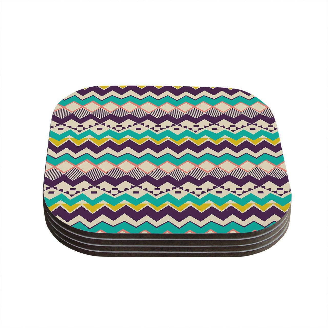 "Louise Machado ""Ethnic Color"" Teal Purple Coasters (Set of 4)"