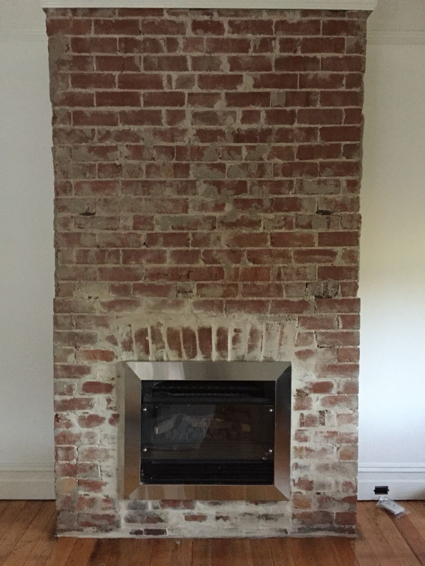 Gas built in, stainless steel trim   Gas fireplace, Wood, Stainless steel