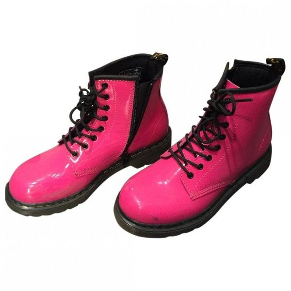 Pink Leather Boots DR. MARTENS ($64) ❤ liked on Polyvore featuring shoes, boots, dr. martens, dr martens boots, genuine leather boots, pink leather shoes and dr martens footwear