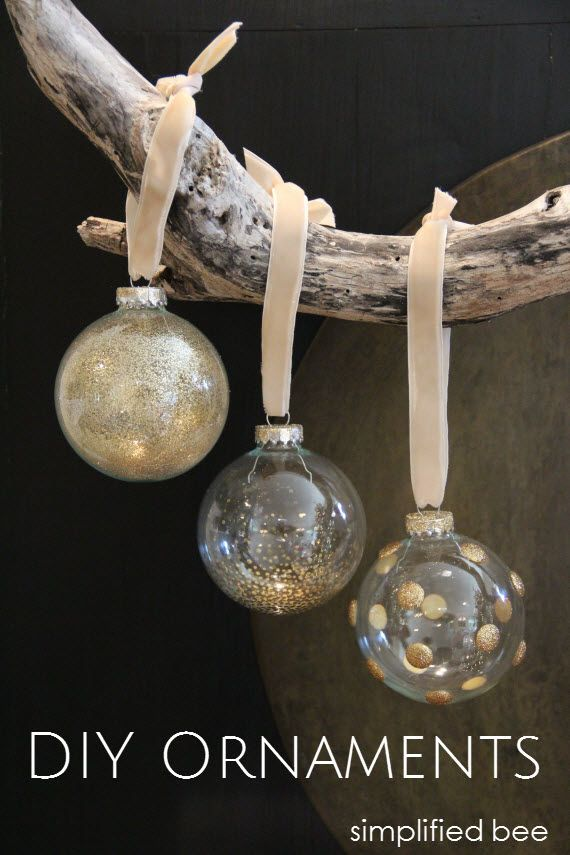 DIY gold glitter glass ornaments // simplified bee #ornaments ...