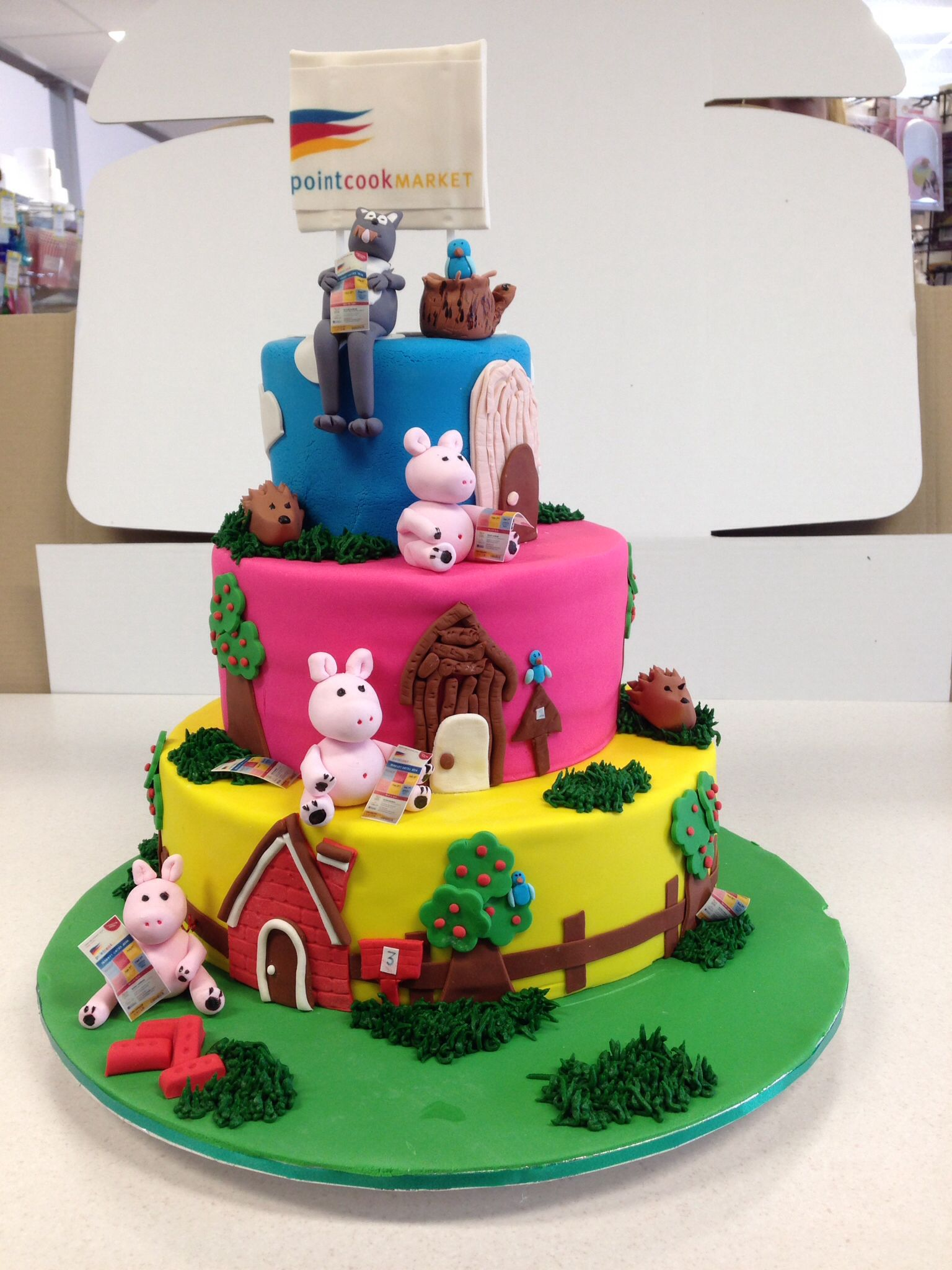 3 little pigs 3 tier cake. Made by the team at Let's Celebrate Parties for Point Cook Market.