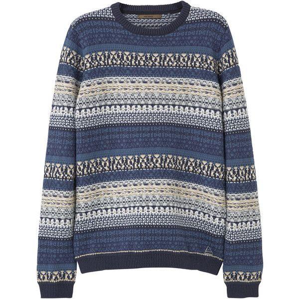 MANGO MAN Fair Isle Cotton-Blend Sweater (€63) ❤ liked on ...