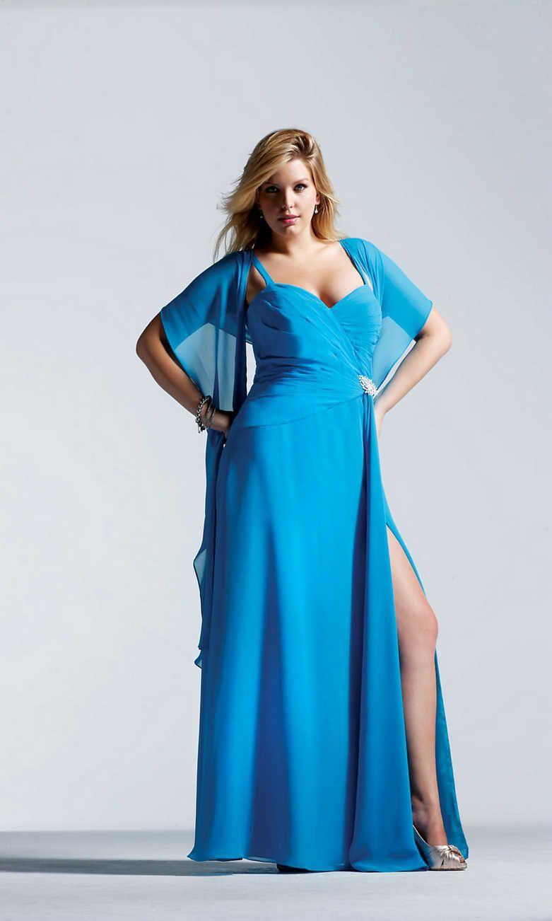 Floor Length Chiffon Beaded Sweetheart Turquoise Slits Prom Dress
