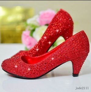 Womens Glitter Rhinestones Crystal Kitten Mid Heels BridalWedding Pump Shoes