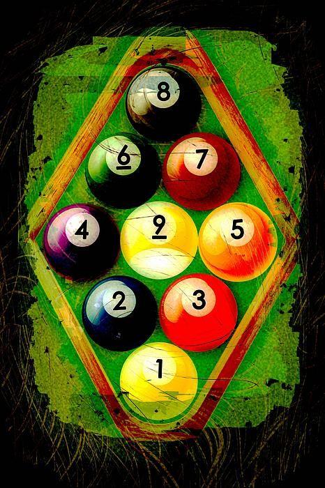 Grunge Style 9 Ball Rack By David G Paul Pool Balls Billiards Billiards Pool