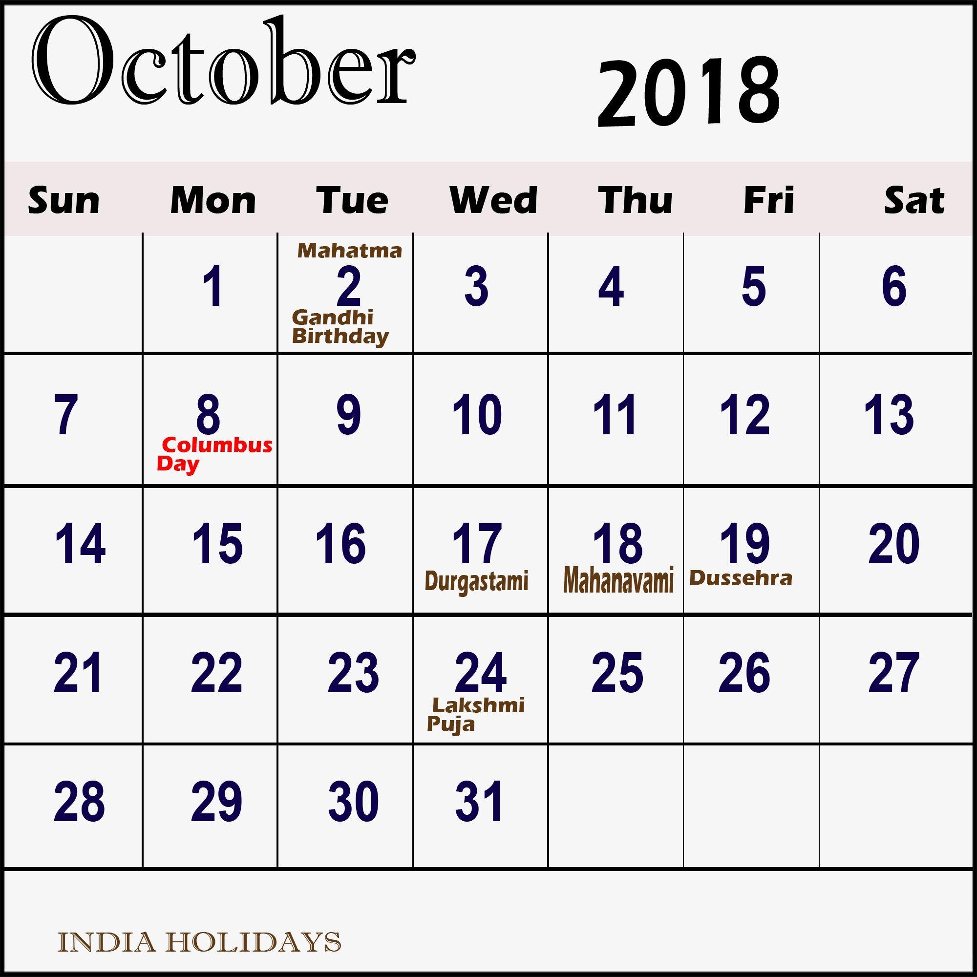 october 2018 calendar india holidays