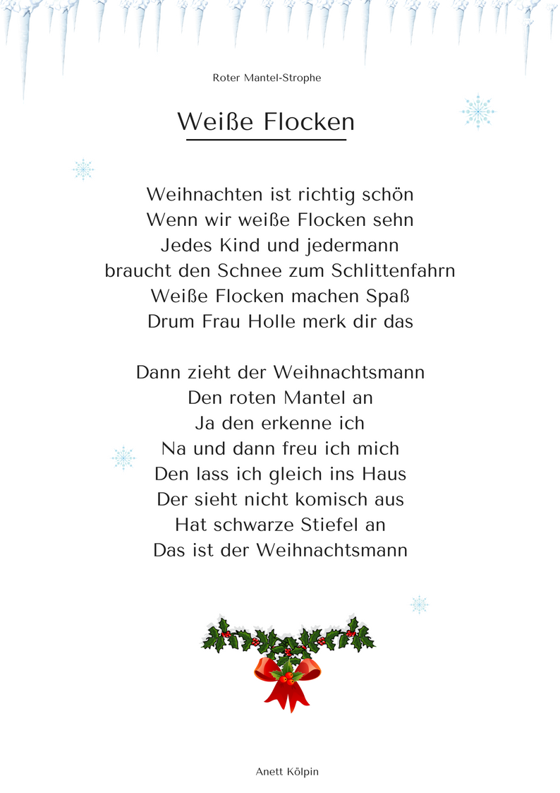 wei e flocken 3 weihnachtsgedicht lied mp3. Black Bedroom Furniture Sets. Home Design Ideas