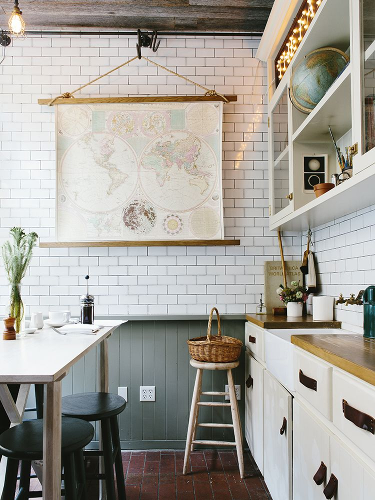 modern farmhouse kitchen. grey wainscot, subway tile